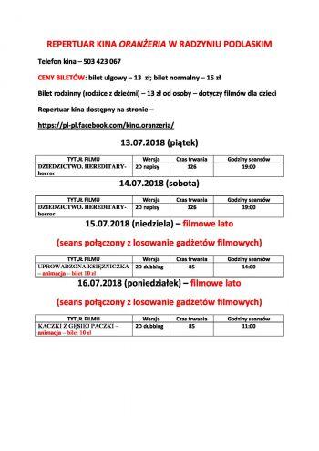 Repertuar kina Oranżeria 13-16.07.2018
