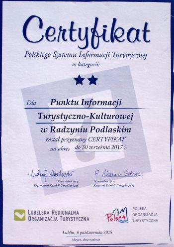 Certyfikat dla Punktu Informacji Turystycznej w Radzyniu Podlaskim
